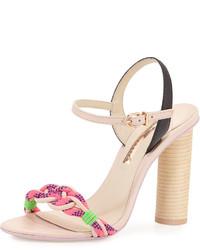 Sophia Webster Atlanta Braided Leather Sandal Pink