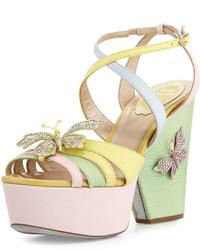 Rene Caovilla Butterfly Colorblock Snakeskin Wedge Sandal Pinkyellowgreen