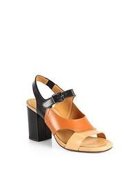 Chie Mihara Radio Colorblock Leather Sandals Tan