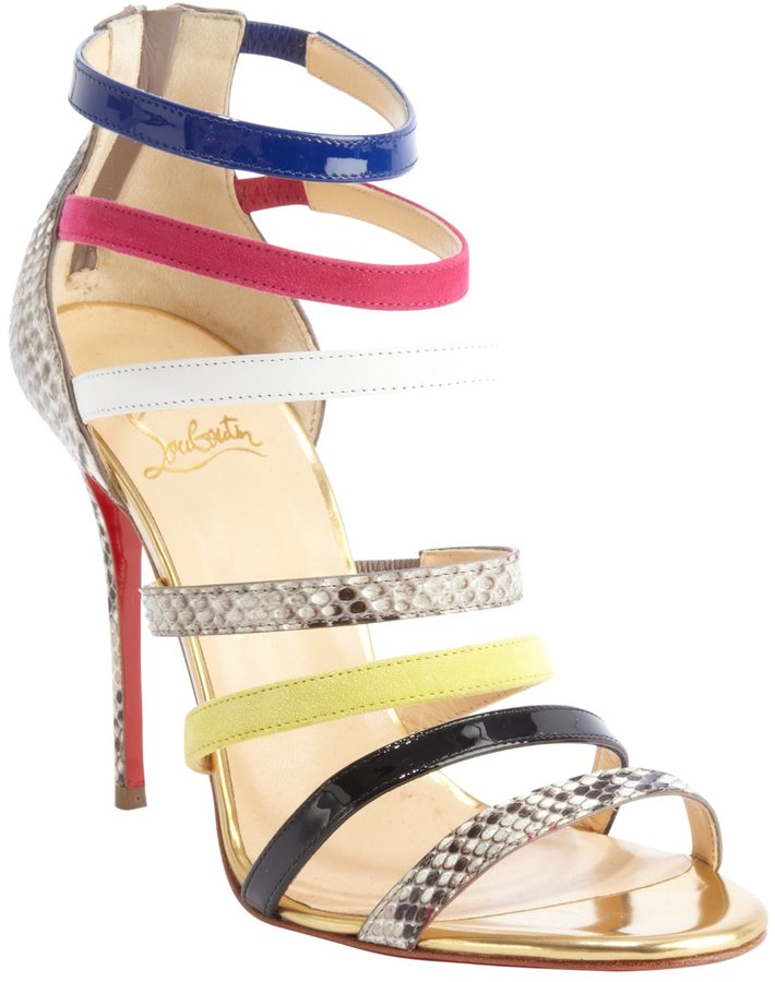 louboutins shoes - Christian Louboutin Gold Leather Mariniere 100 Multi Color ...