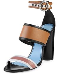 Lanvin Colorblock Leather 105mm Sandal Camelmulti