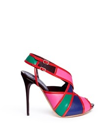 Alexander McQueen Colourblock Patent Trim Leather Slingback Sandals