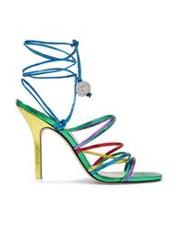 ATTICO Eve Crystal Embellished Metallic Lizard Effect Leather Sandals