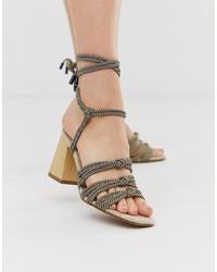 ASOS DESIGN Hazel Rope Tie Heeled Sandals In Multi Stripe