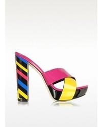 Loriblu Multicolor Patent Leather Platform Sandal