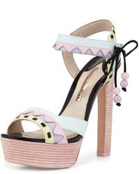 Sophia Webster Riko Pastel Platform Sandal Pinkaqua