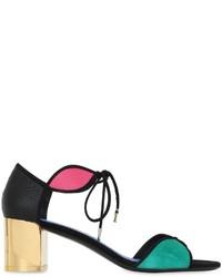 Salvatore Ferragamo 55mm Suede Embossed Leather Sandals