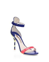 Sophia Webster Nicole Patent Leather Canvas Ankle Strap Sandals Bluelime