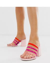 ASOS DESIGN Wide Fit Hanson Clear Block Heeled Sandals