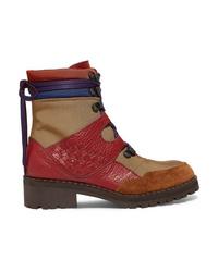 Bottega Veneta Intrecciato Color Block Canvas Textured Leather And Suede Ankle Boots