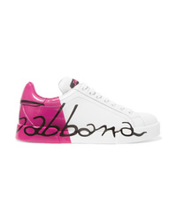 Dolce & Gabbana Logo Painted Leather Sneakers