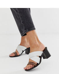 River Island Leather Heeled Sandals With Cross Front In White