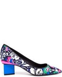 Nicholas Kirkwood Floral Printed Silk Block Heel Pumps