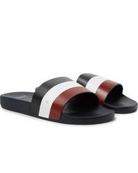 Moncler Basile Logo Print Striped Leather Slides