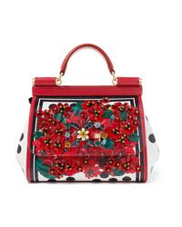 Dolce & Gabbana Portofino Dauphine Mini Embellished Printed Textured Leather Tote