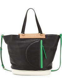 Multi colored Leather Tote Bag