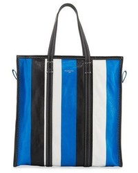 Balenciaga Bazar Medium Striped Leather Shopper Tote Bag Bleublancnoir