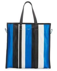 Bazar medium striped leather shopper tote bag bleublancnoir medium 1317566