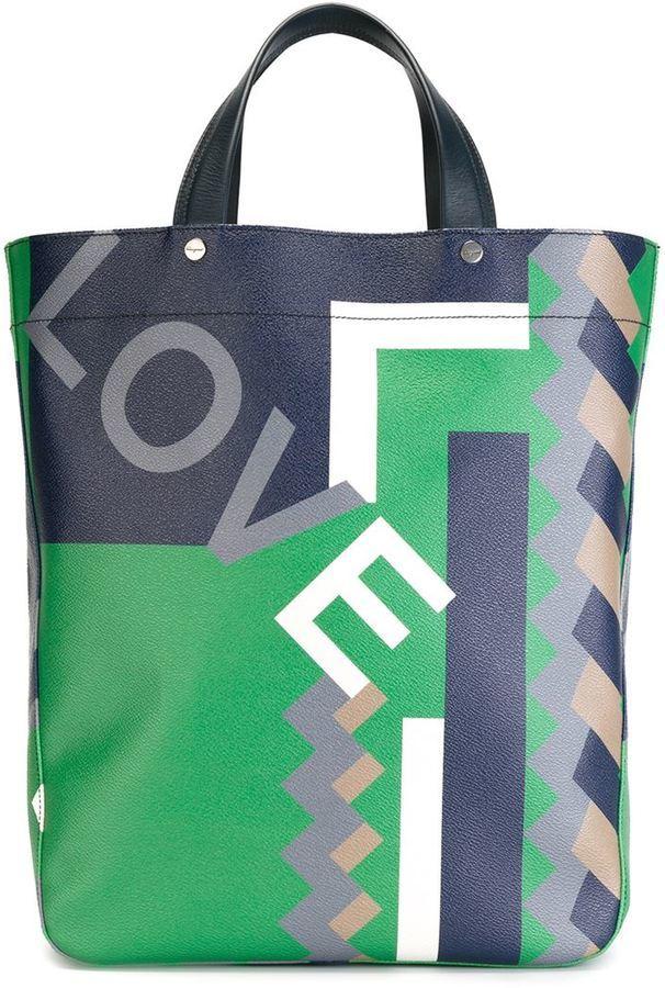 f9f1d6358d8a Love Geometric Print Tote. Multi colored Leather Tote Bag by Salvatore  Ferragamo