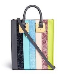 Sophie Hulme Albion Mini Glitter Rainbow Stripe Leather Box Tote