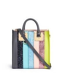 Sophie Hulme Albion Square Mini Glitter Rainbow Stripe Leather Box Tote