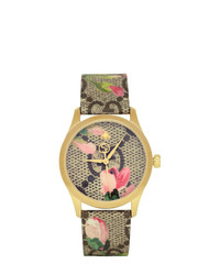 Gucci Gold And Multicolor Floral Gg G Timeless Watch