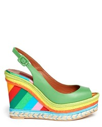 Multi colored Leather Wedge Sandals