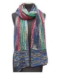 La Fiorentina Navycombo Multi Color Marble Knit Scarf W Contrast End