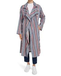 Maison Margiela Stripe Stretch Linen Cotton Trench Coat