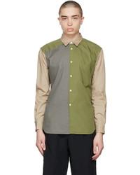 Comme des Garcons Homme Deux Beige Khaki Colorblocked Shirt
