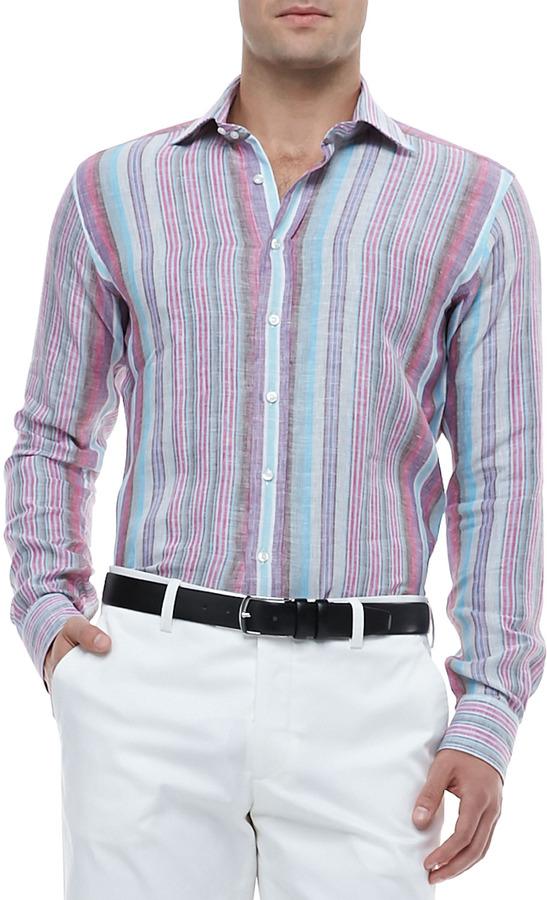 Multi Colored Long Sleeve Shirt Etro Multi Striped Linen