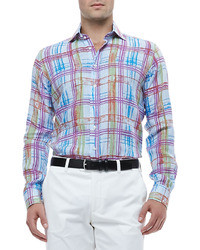 Etro Gingham Linen Shirt With Multicolored Plaid
