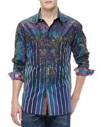 Robert Graham Laser Stripe Multi Print Sport Shirt