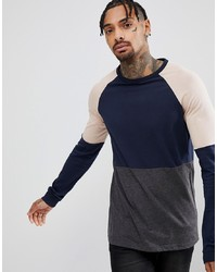 ASOS DESIGN Asos Longline Long Sleeve T Shirt In Navy Colour Block Char Marl Bel
