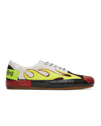 Palm Angels White And Multicolor Flame Sneakers