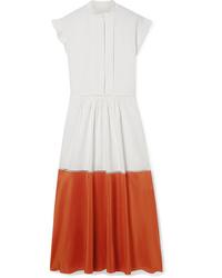 Chloé Two Tone Pleated Linen And Silk De Chine Midi Dress