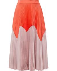 Roksanda Two Tone Pleated Satin Midi Skirt