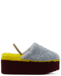 Fendi Multicolor Shearling Platform Mules