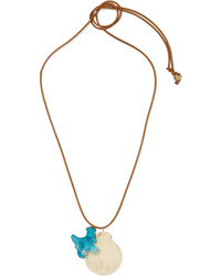 Dinosaur Designs Gold Tone Leather And Resin Necklace