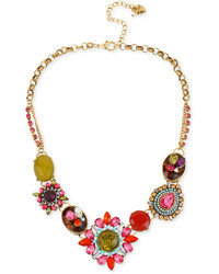 Betsey Johnson Gold Tone Multi Color Crystal Pendant Frontal Necklace