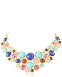 Kenneth Jay Lane Gold Turquoise Lapis And Multi Stone Bib Necklace