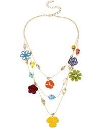 Mixit mixit multicolor flower 3 row illusion necklace medium 383036
