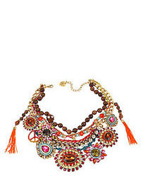 Betsey Johnson Multi Colored Crystal Gem Mixed Bead Frontal Necklace