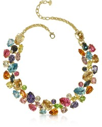 Multicolor crystal and metal necklace medium 383053