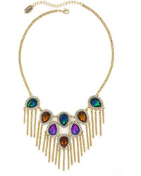 Nicole by nicole miller nicole by nicole miller multicolor stone and chain fringe necklace medium 383021