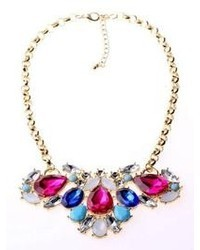 Choies Teardrop Rhinestone Mixed Statet Necklace