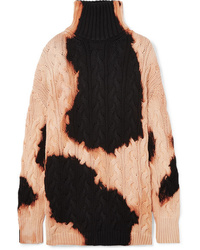 Balenciaga Bleached Cable Knit Cotton Turtleneck Sweater