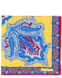 Edward armah large paisley print silk pocket square yellow medium 245047