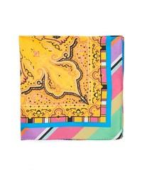 Etro Stripe Border Paisley Silk Pocket Square
