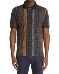 Beams Plus Short Sleeve Slim Foulard Stripe Pique Polo Shirt